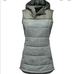 The North Face S WOMEN'S PSEUDIO TUNIC VEST green army hooded Gilet stretchy